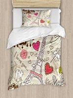 Париж декор постельное белье дудлы иллюстрация Eiffels башня сердца люстра цветок любви Валентина Винтаж Постельное белье