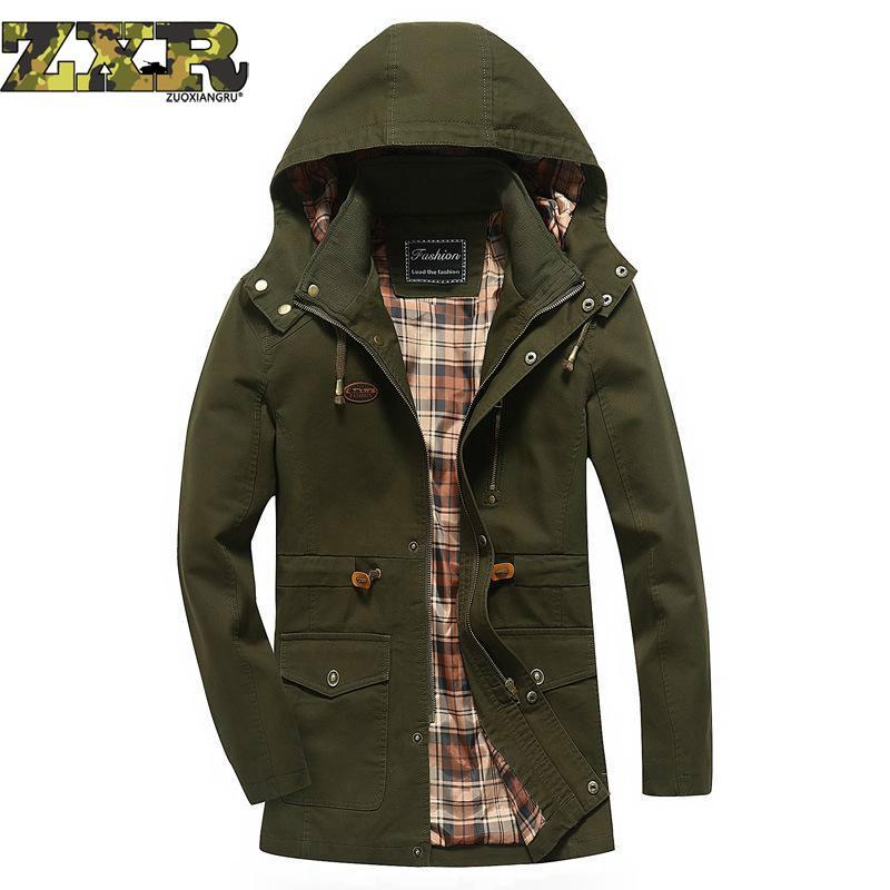 Erkek Kıyafeti'ten Ceketler'de Artı Boyutu 4xl Kapüşonlu Erkek bahar sonbahar ceketi Yeni Slim Fit % 100% Pamuk Uzun Tarzı Ordu Askeri Rahat Erkek Giyim Giyim'da  Grup 1