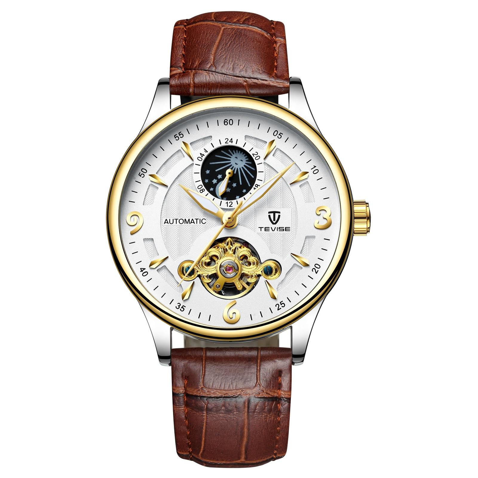 Tevise Top Brand Luxury Waterproof Automatic Men Mechanical Watch Moon Phase Luminous Self-winding Man Casual Wristwatch Leather