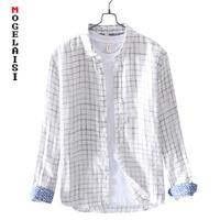 New 2019 Spring linen cotton shirt men casual small plaid linen Comfortable soft man white shirt camisa masculina LZ 760