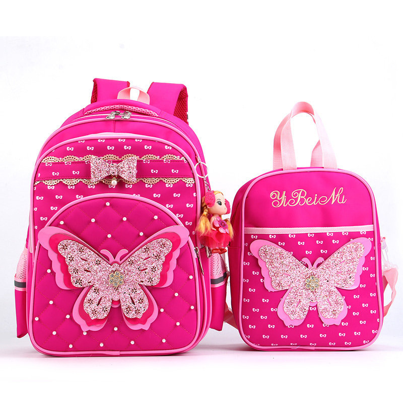 Butterfly Pattern Orthopedic School Backpack Children School Bags Waterproof Nylon Kids Backpacks Girls Satchels Large Capacity|School Bags|Luggage & Bags - title=