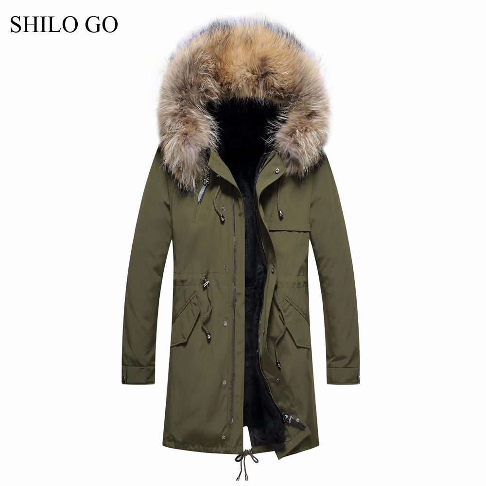 4XL New Mens Winter Army Green Black Jacket Coats Thick Parkas Plus Size Real Raccoon Collar Hooded Rabbit Outwear Fur Coat children army coat kids real raccoon collar fur jacket outdoor parkas army green rex rabbit fur hooded jacket for girl