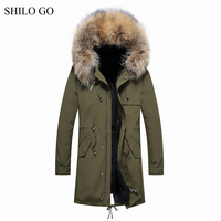 4XL New Mens Winter Army Green Black Jacket Coats Thick Parkas Plus Size Real Raccoon Collar Hooded Rabbit Outwear Fur Coat