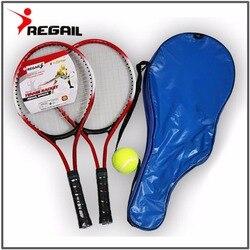 Набор 2 подростковых теннисных ракеток для тренировок ракетка для тенниса углеродное волокно верх стальной материал теннисная веревка с бе...