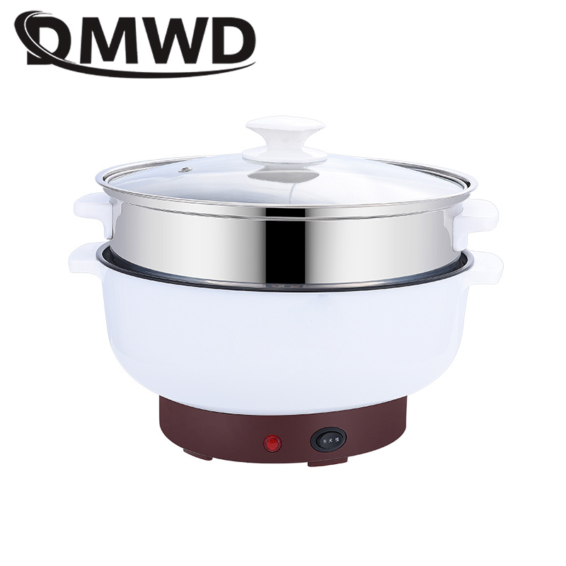 DMWD Mini Electric Skillet Hotpot Cooking Breakfast Steamed Eggs Steamer Mini Soup Noodles Pot Frying Pan Dormitory Rice Cooker mini electric skillet 110v volt multi function mini student dormitory rice cooker porridge cooking steamed egg electric cooker
