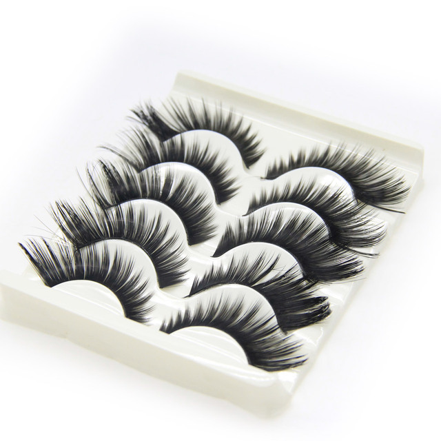5 par/set alas Pestañas postizas negro grueso plástico negro Terrier pestañas falsas Ojos cosmética cosméticos Herramientas falso pestañas
