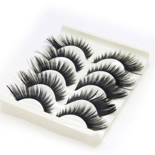5 par/set pestañas postizas aladas negro grueso plástico negro Terrier ojos postizos maquillaje cosméticos herramientas pestañas postizas ojos
