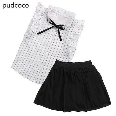 Baby Girls Summer Ruffle Striped Blouse Shirt Tops+Short Skirts 2pcs Outfits Clothes Set Sleeveless Tshirts Black Skirt Clothing