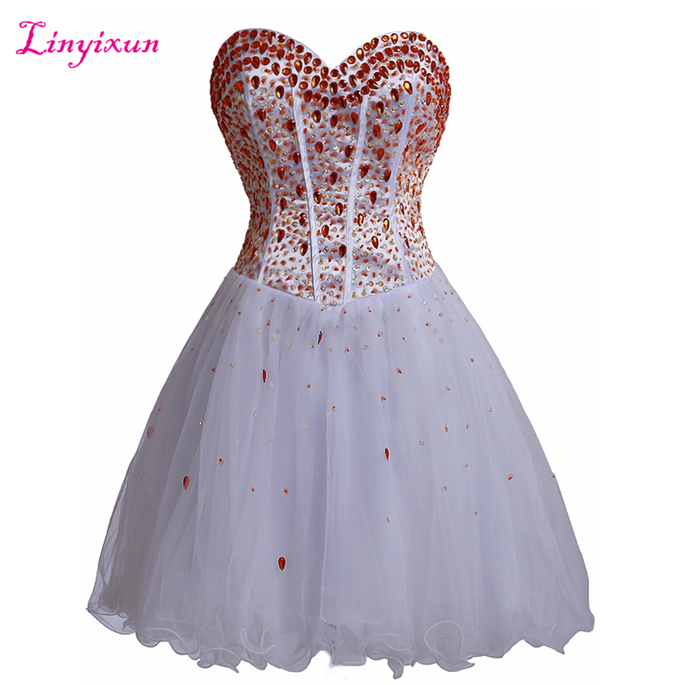 Linyixun Real Photo Short Cocktail Dresses 2017 Masquerade Ball Gown Prom Dresses Special Occasion Party Homecoming Dresses