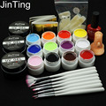 12 Pure Color Nail Art UV Gel Solid Manicure polish set kits tools with bulider extension gel , false nail , brush , top coat