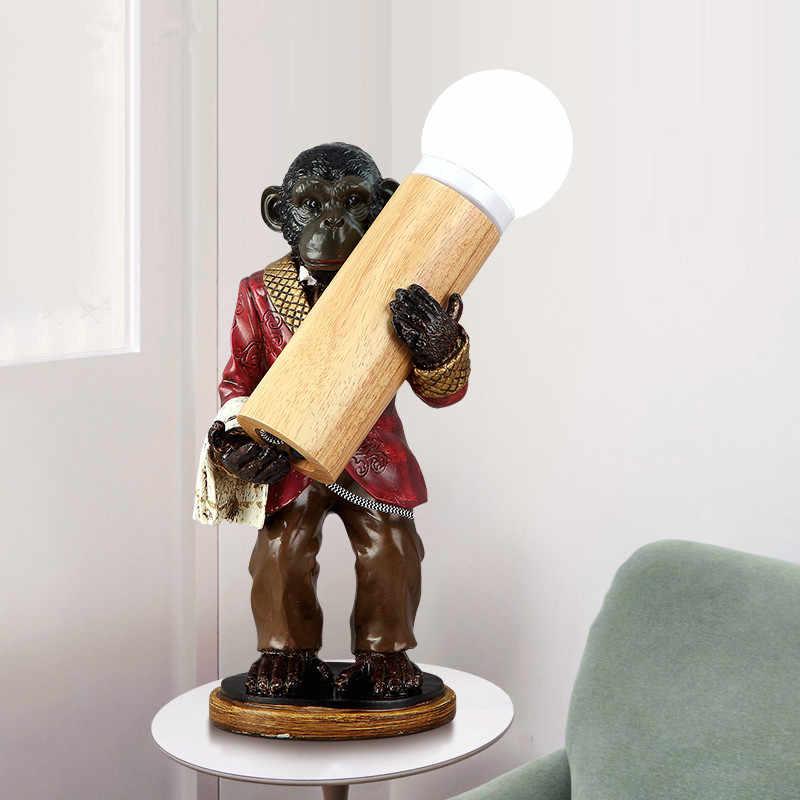 Новинка Abajur Orangutan E14 светодиодный настольная лампа для бара или кафе художественная спальня ретро фигурки обезьян из мастики стеклянная абажурная настольная лампа