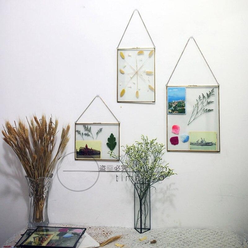 Retro Vintage acabado cristal negro foto marco planta pluma arte en ...