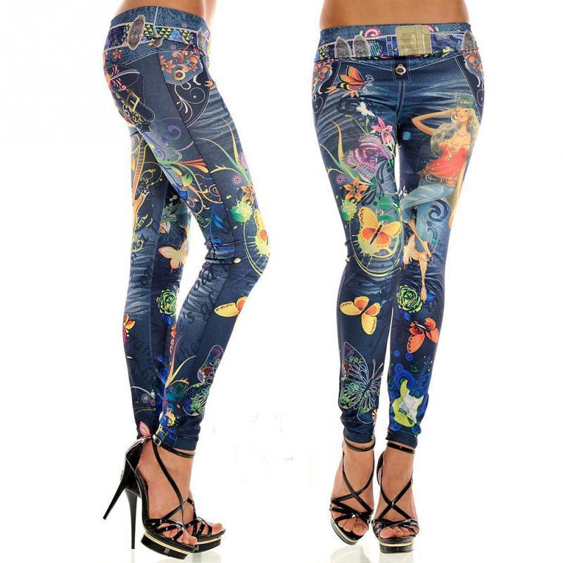 Женская мода красочные окрашенные цветочные имитационные джинсы леггинсы сексуальные женские midwaist джинсы свободный размер
