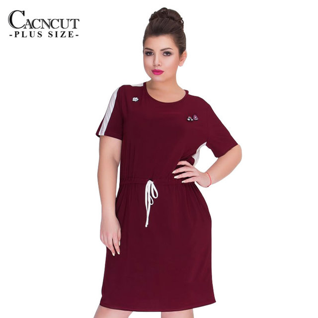 CACNCUT Plus Size Casual Women Dress Short Sleeve Summer Dresses 2018 Big  Size Patchwork Dresses Casual Office Vestidos 5XL 6xL 1d8170fb82ba