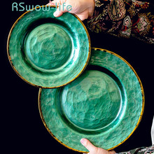 Emerald Phnom Penh Breakfast Bread Plate Tableware Fruit Dessert Dish Creative Ceramic Plate Dinner Plates For Kitchen Supplies phnom penh salad plate phnom penh glass tableware plate hand painted gold edge fruit plate golden storage plate