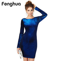 Fenghua Fashion Long Sleeve Velvet Dress Women 2017 Autumn Winter Dress Female Sexy Bodycon Evening Party