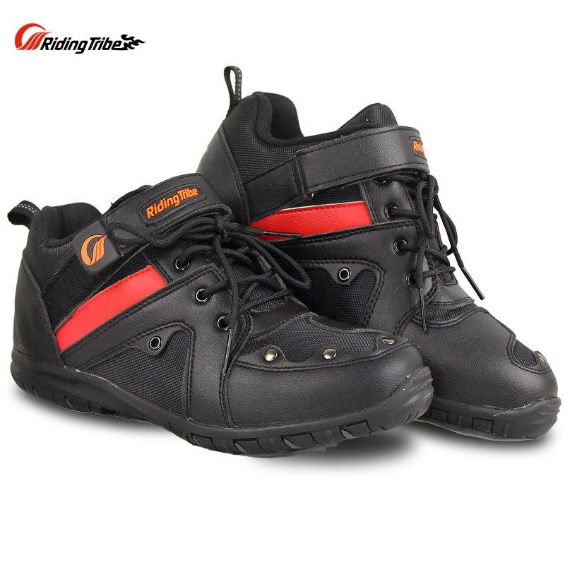 Équitation tribu Moto équitation équipement de protection anti-dérapant chaussures tout-terrain Moto bottes de course Anticollision noir rouge couleur A006