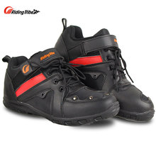 Riding Tribe Motorcycle Riding Protective Gear Anti-skid Shoes Off-Road Racing Boots Anticollision Water-proof Red coloration A006