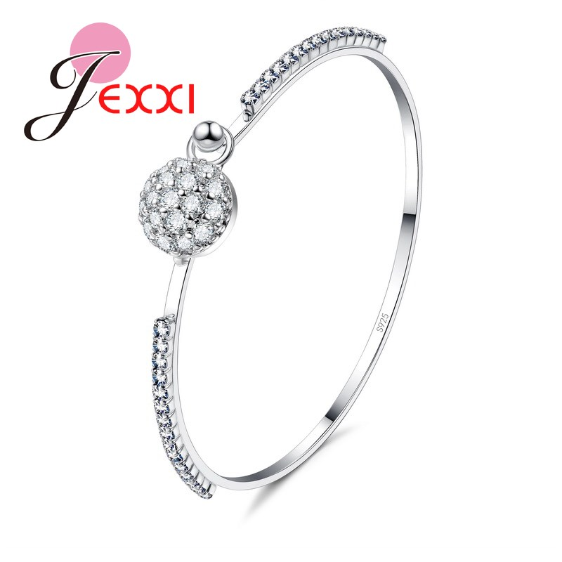 aa9ad672d286 JEXXI 925 plata esterlina moda mujeres chicas CZ cristal pulsera AAA +  cristal austriaco joyería CZ bola de cristal de diseño brazaletes