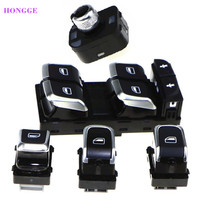 HONGGE Qty 5 Chrome Master Window & Mirror Switch Sets For VW A6 S6 C7 A7 4GD959565 4GD959851 4GD959855 8KD 959 855A 8KD959565A