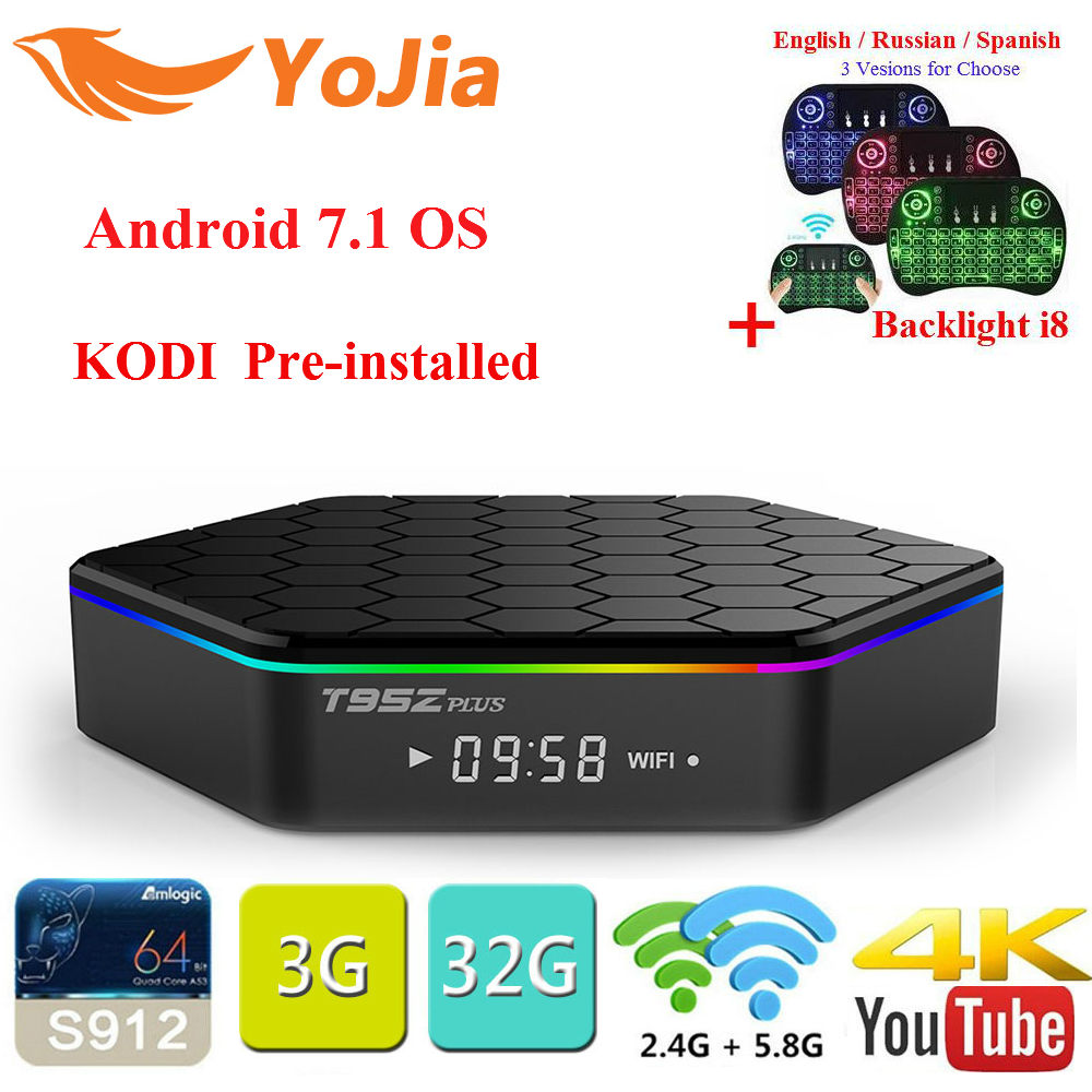 Yojia T95Z Plus Amlogic S912 Android 7.1 TV BOX 2GB/16GB 3GB/32GB Octa Core Dual WiFi Smart T95z Plus Set Top box