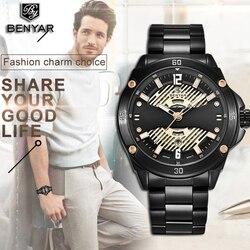 BENYAR męskie zegarki Top marka luksusowy zegarek biznesowy mężczyźni wojskowy ze stali nierdzewnej wodoodporny zegarek kwarcowy Relogio Masculino w Zegarki kwarcowe od Zegarki na