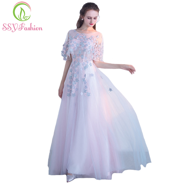 SSYFashion New Sweet Pink Lace Flower Evening Dress The Bride Banquet  Elegant Floor-length Long Party Formal Gown Custom Made fd5dfb5e437e
