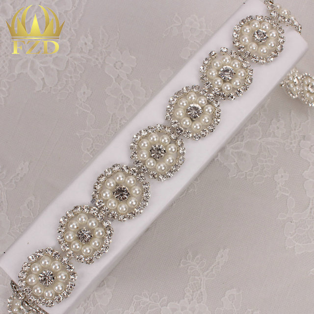 (10yards) Wholesale 1 Yard Hot Fix Sewing Beaded Crystal Rhinestone  Appliques Trim for Wedding Dress Belts 23d9993721a1
