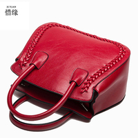 XIYUAN BRAND Simple Larger Capacity COW Genuine Leather Women SHELL Burgundy Shoulder Bag Handbags Tote Solid