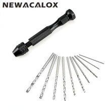 NEWACALOX Manual Mini Micro Aluminum Rotary Hand Tool Countersink Drill Bit Chuck with 10pcs/set Twist Drills