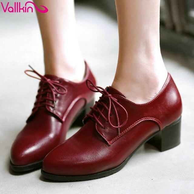 VALLKIN 2015 Европейский стиль квадратных высокой пятки женщины насос босоножки Оксфорд обувь острым носом черный дамы случайные обувь