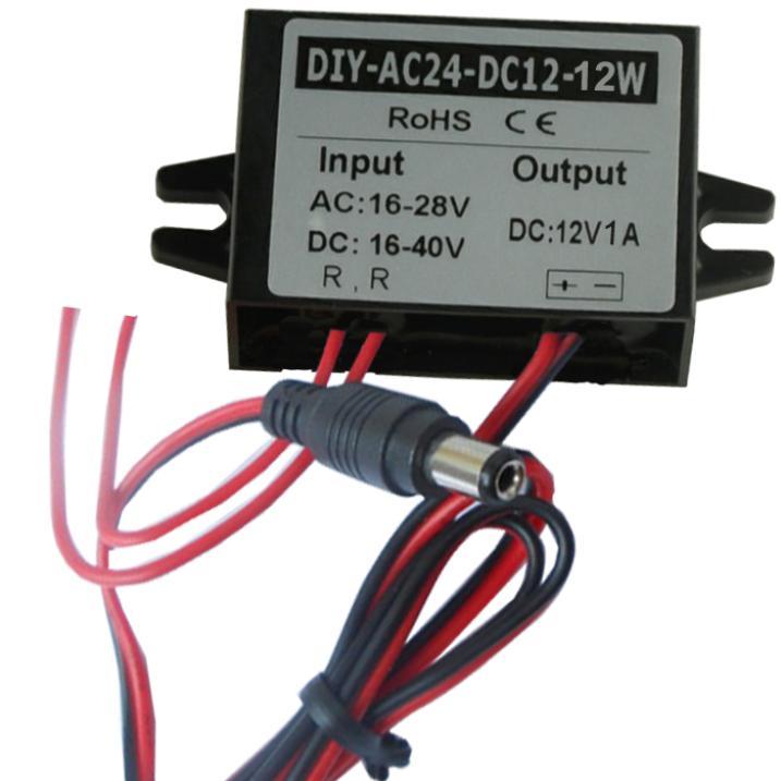 цена на Converter AC 24V(16V-28V) Or DC(16V-40V) Buck To DC12V 1A DC 5.5*2.1 output Step Down Power DC Car Power Adapter Regulator