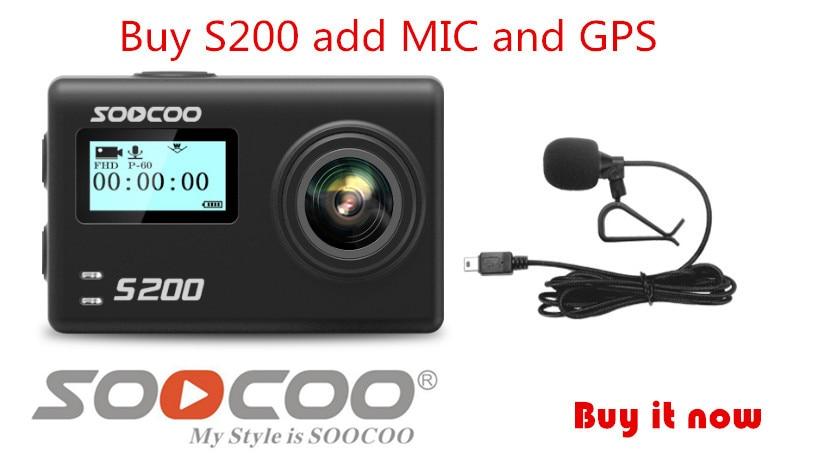 SOOCOO S200 Action Camera Ultra HD 4K NTK96660 + IMX078 with WiFi Gryo Voice control external mic GPS 2.45