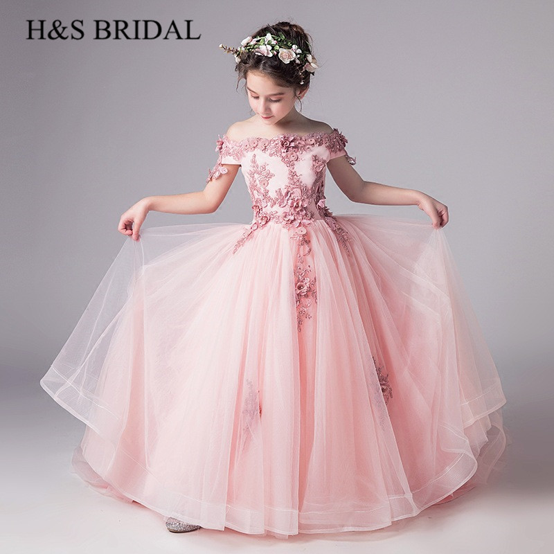 H&S BRIDAL Pink   flower     girl     dresses     Flowers   Ball Gown   Girls   Pageant   Dresses   Kids   dress   for wedding primera comunion