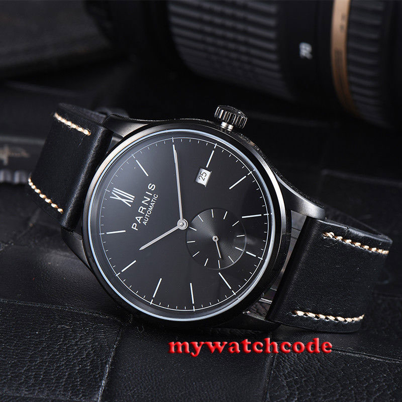 42mm parnis black dial black PVD case date automatic movement mens watch P979 цена и фото