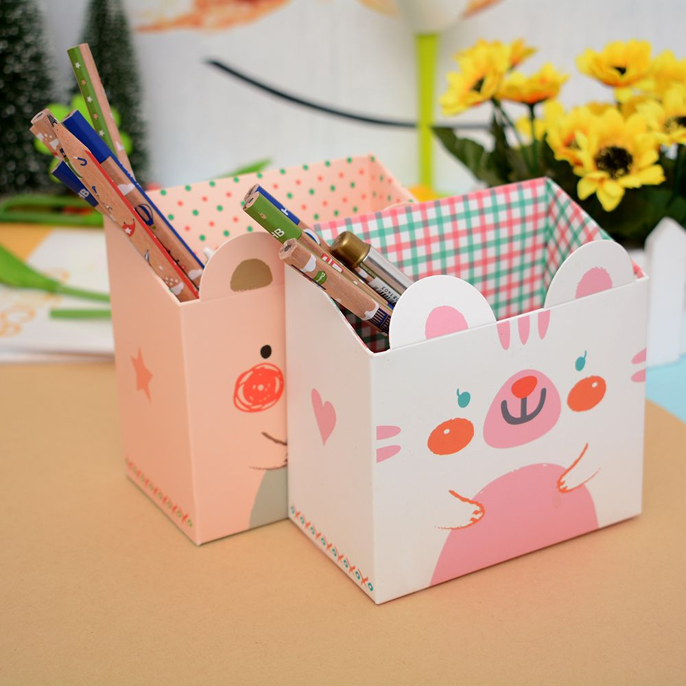 DIY Foldable Paper Board Office Organizer Round Cosmetic Pencil Pen Holders Stationery Container School Office Supplies