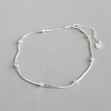 Аутентичные стерлингового серебра 925 snakebone цепи и маленькие счастливые круглые шариковые бусины ножной браслет отрегулировать тонкие ювелирные изделия TLS127