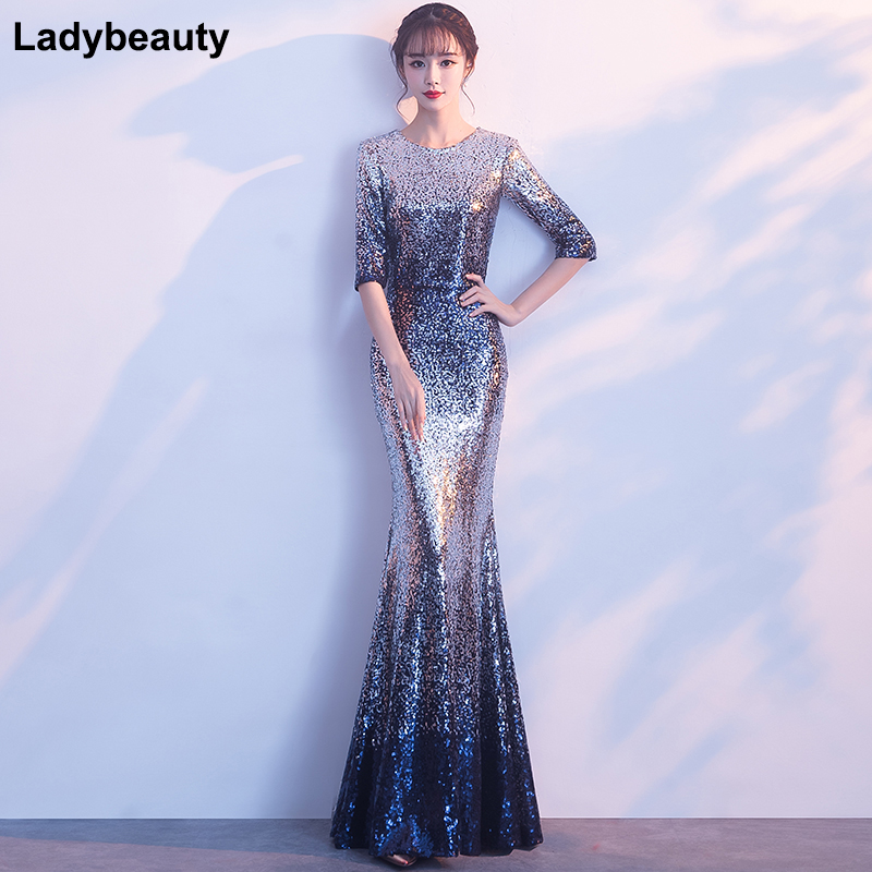 Multi Colors Mermaid   Evening     Dresses   2018 Sexy Long   Evening   Party   Dress   O-Neck Sequin Sashes women formal   evening   gown