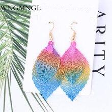 WNGMNGL Korean Elegant Drop earrings Bohemia Charm Statement Earrings Cute Double Leaves Dangle Earrings For Women Ear Jewelry