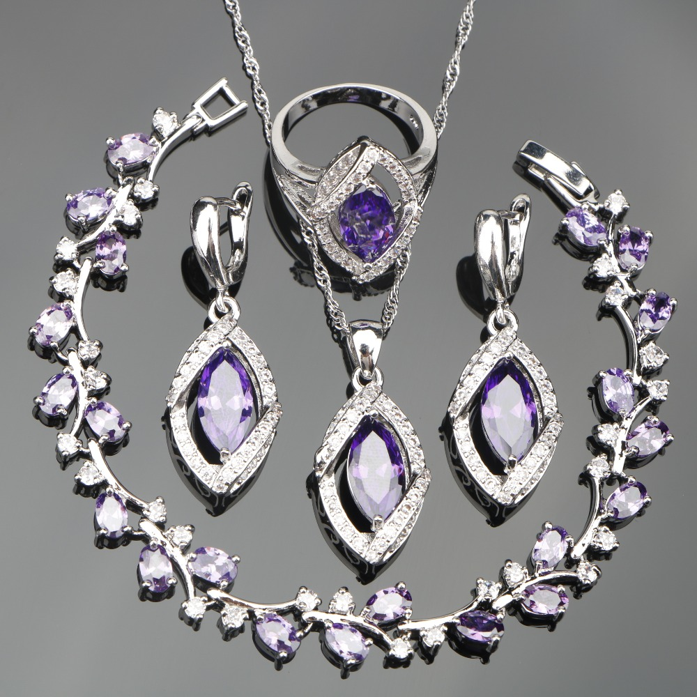 Purple Zircon Silver 925 Jewelry Sets Bridal Women Charms Bracelets Earrings With Stones Necklace Rings Set of Jewelery Gift Box