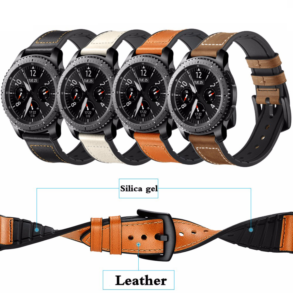 Leather Strap For Gear S3 Frontier Samsung Galaxy Watch 46mm 42m Huawei Watch Gt Strap 22mm Watch Band Correa Bracelet Belt 20mm