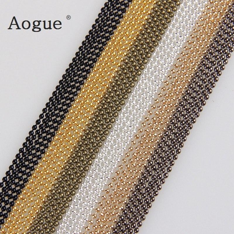 5 m/lote 1.5mm metal bola grânulo correntes 7 cores ketting kettingen granel cadeias de ferro para diy jóias acessórios