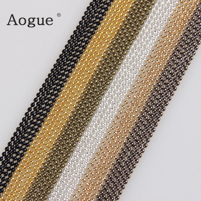5m/lot 1.5mm Metal Ball Bead Chains 7Colors Ketting Kettingen Bulk  Bulk Iron Chains For Diy  Jewelry Accessories