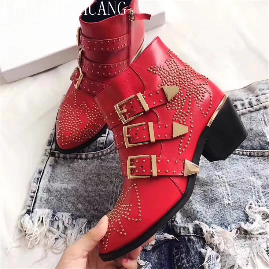 Mode En D'hiver Chaudes Huang Chaussures Femmes rouge blanc Véritable Qualité Bottes Femme De Cuir black Red Occasionnels Styles Haute bleu Noir Ventes Tian Cheville Qi wine qvAIwFA