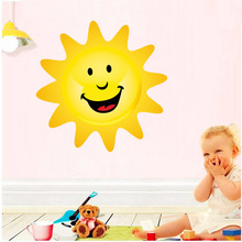 New Design Cartoon Happy Sun Full Color Wall Stickers For Kids Room Removable Waterproof Wall Art Decals Wallpaper Home Decor video game design removable wall stickers for kids room