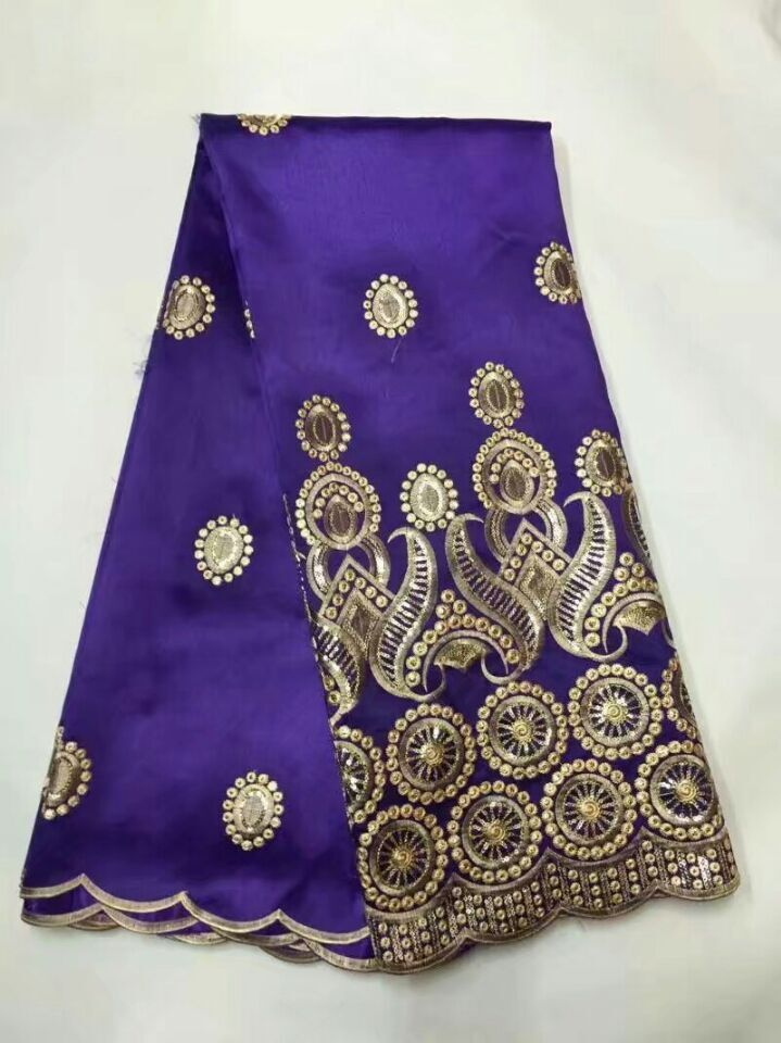 Nigerian George Lace Purple Embroidery Silk Lace Fabric For African Dresses Gold Beaded Stones