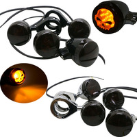 4x Black Front Rear Motorcycle LED Turn Signal Amber Light 39mm Fork Clamp For Harley Davidson