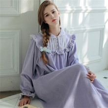 Womens Velvet Cotton Nightgown Thicken Winter Roman Holiday Princess Pyjama Long Ankle-Length Nightdress SA16036