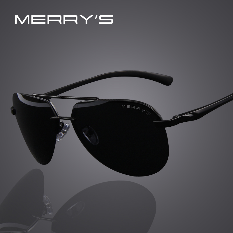 MERRY'S Marque Hommes 100% polarisé en alliage d'aluminium Lunettes de soleil Cadre de mode Lunettes de soleil de conduite pour hommes S'8281