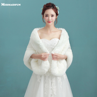 2017 New Arrival Winter Faux Fur Bridal Jacket Warm Boleros Luxurious Wedding Bride Wraps Cape Wedding Jacket